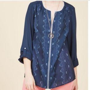 Modcloth tunic style navy blouse